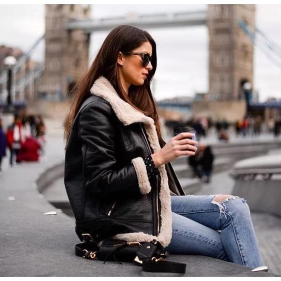 promo code perfect quality newest style of Zara aviator Jacket black biker coat NWT